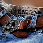 Leather belt Hammer brown